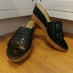 FRANCO SARTO Black Patent & Cork Wedge Sandals